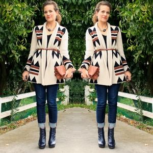 BB Dakota Sweaters - RESERVED BB Dakota Aztec Print Sweater Coat