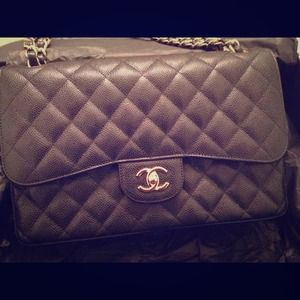 AUTH CHANEL Classic jumbo black caviar  with gold