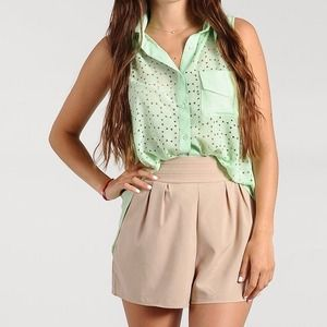 Tops - New Mint Cutout Slit Back Top