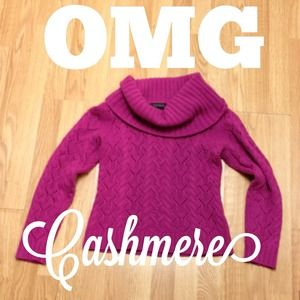 HP Cashmere magenta cowl neck sweater