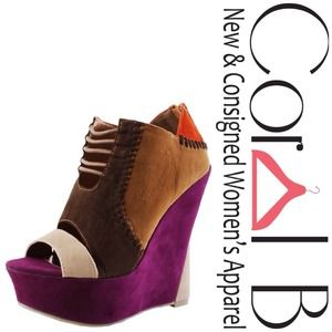 Shoes - Colorblock Platform Wedges