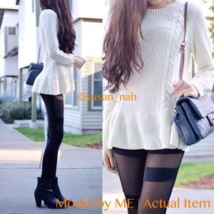 Accessories - Peplum cable sweater dress top