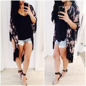 Somewhere My Love Floral Print Kimono Top