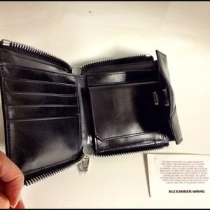 ALEXANDER WANG Black Leather Buckle Zip Wallet