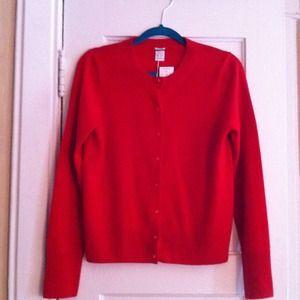 100% Cashmere J Crew red cardigan