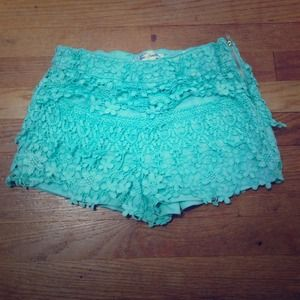 Lace / crochet mint shorts