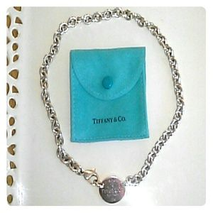Authentic Tiffany and Co. Oval tag necklace.