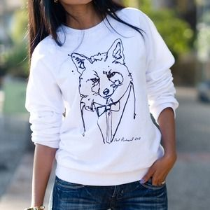 Sweaters - White fox sweatshirt + bundle = 5 items