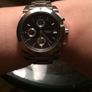 fossil boyfriend watch stainless steel good shape