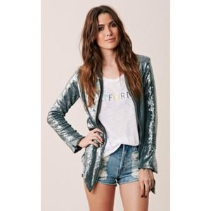 blu moon Jackets & Blazers - silver sequin jacket by blu moon (planet blue)