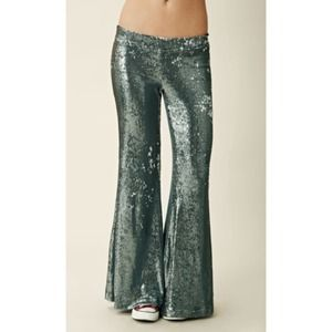 blu moon Pants - silver sequin bell bottoms by blu moon