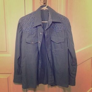 Vintage Blue Western style button up