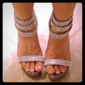 Sexy rhinestone ankle heels