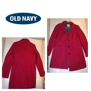 Old navy red wool car coat.