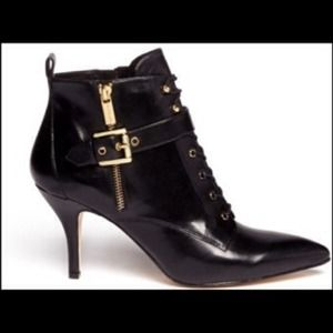 MK Brena Black Leather Ankle Boots