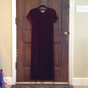 Vintage Wine Velvet Maxi Dress