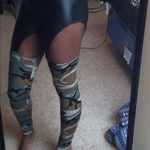 98b2d43680d Pants -  SOLD on VINTED  Leather Camo Garter Leggings