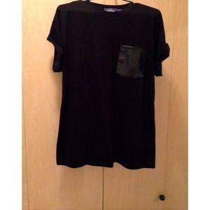 Black Leather pocket tshirt