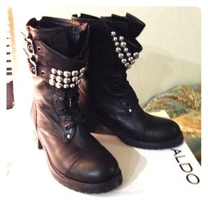 ALDO Studded leather combat boots