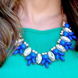 Jeweled Blue statement necklace