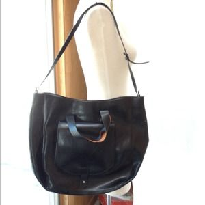 Large black leather duffel tote bag