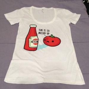 Tops - Funny Ketchup White Tshirt