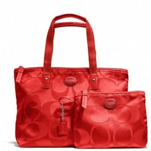 Coach signature nylon small packable tote & pouch