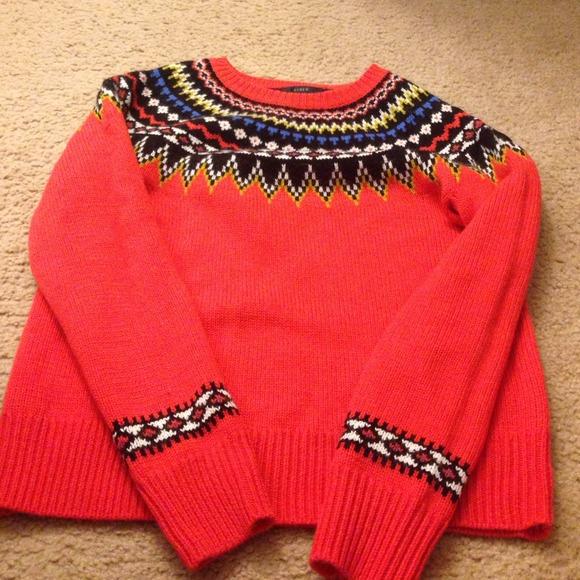 65% off J. Crew Sweaters - J. Crew orange fair isle sweater sz S ...