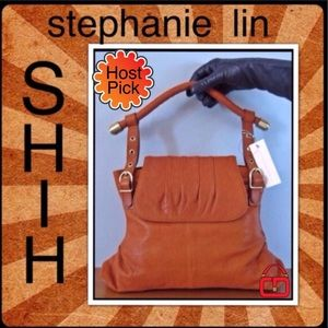 SHIH stephanie lin Brown leather shoulder tote New
