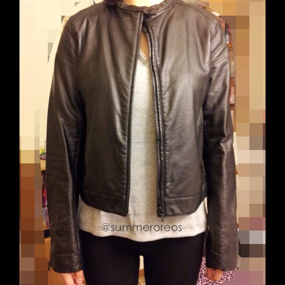 23b2e5cd3 Simple Faux Leather Biker Jacket Size Medium