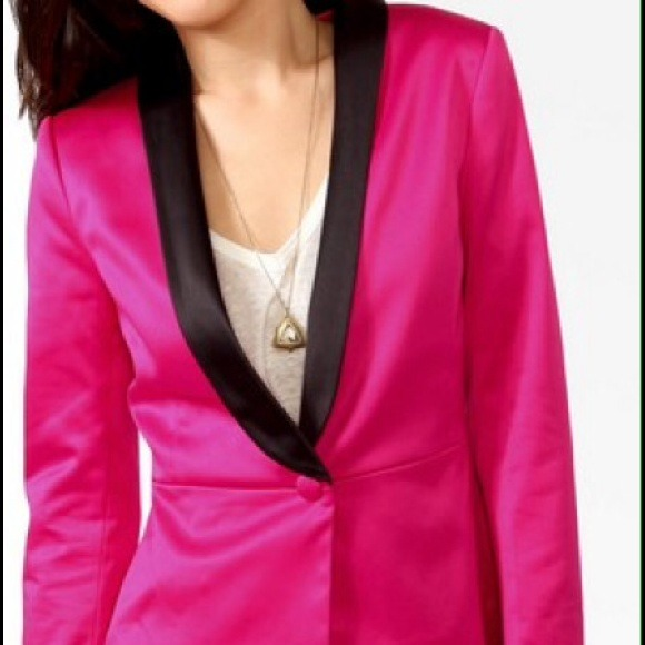 Forever 21 Jackets & Coats - Pink Satin Blazer Black Lapels S/Bulldog sweater
