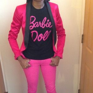 Forever 21 Jackets & Coats - Pink Satin Blazer Black Lapels S/Bulldog sweater 3