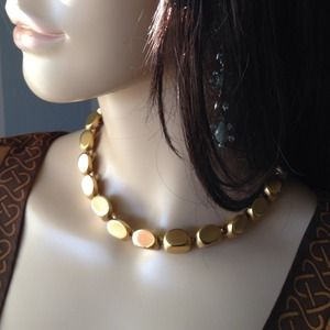 Vintage Anne Klein Gold Nugget Necklace