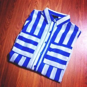 Vertical Striped Button Down Blouse