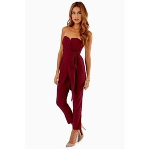 Burgundy Strapless Sweetheart Wrap Jumpsuit