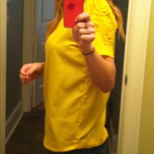 Yellow Zara top with detail on one shoulder