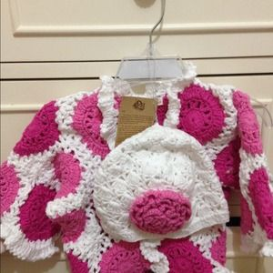 Hand knitted sweater and matching beenie