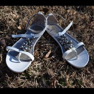 White silver ball sandals