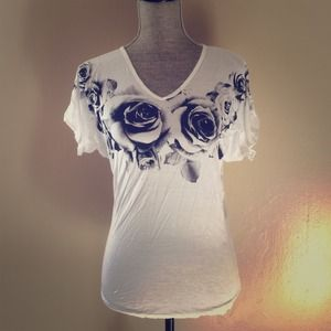 Rose Batwing White Tee