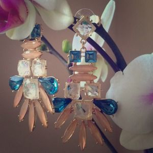 Jewelry - Sapphire & Pretty Peach Chandelier Earrings