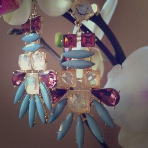 Jewelry - Cornflower Blue & Rich Purple Chandelier Earrings