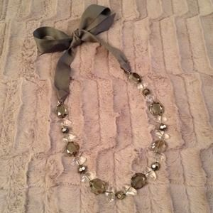 Stella & Dot satin ribbon bow tie necklace