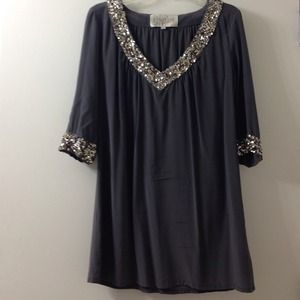 Rory Beca Grey silk tunic dress with sequins