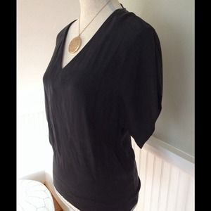 Penguin brand black silk flutter sleeve blouse