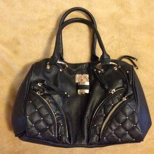 Black Bebe slouchy purse w/ cheetah print