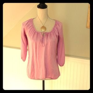 Lilac silk peasant top