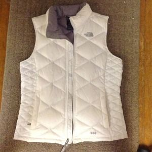 White North Face feather puffer vest