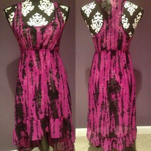 Dresses & Skirts - Purple & Black Tie Dye Chiffon Dress
