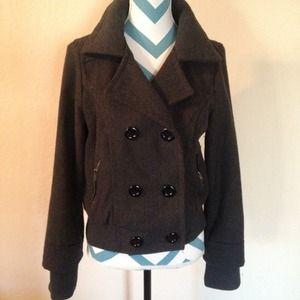 Jackets & Blazers - Dark grey button peacoat