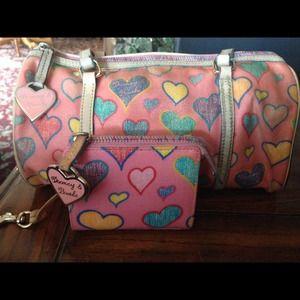 Dooney & Bourke pink hearts barrel bag & wallet